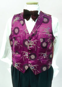 Mens vintage purple silk brocade waistcoat with notch collar, four pockets, very steampunk style.