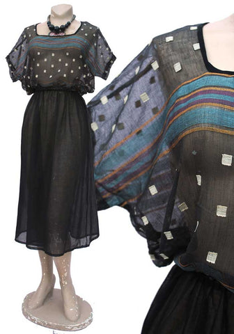 1930s sheer gauze muslin black peasant top and skirt