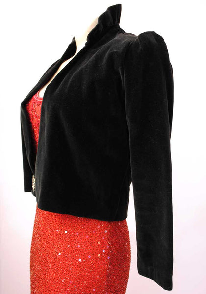 1930s Vintage Art Deco Black Velvet Bolero with Diamonté Buckle Floral Crepe Lining