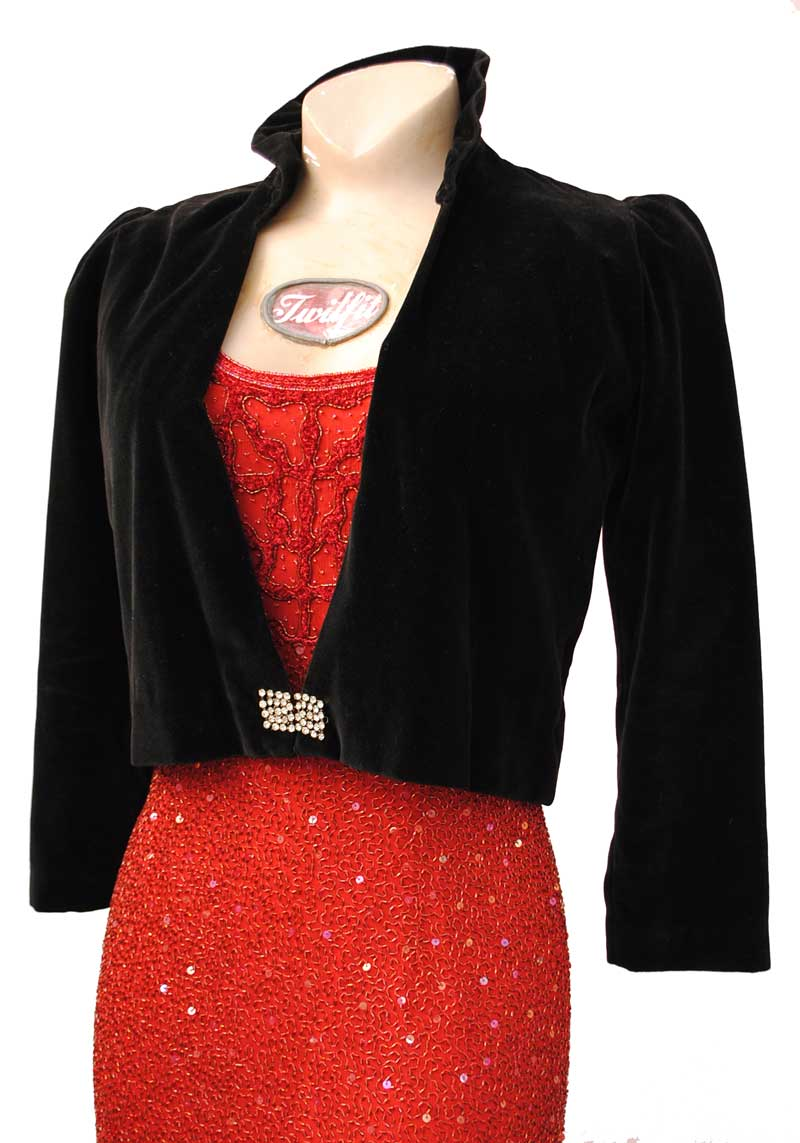 vintage 30 black velvet bolero with deco rhinestone buckle