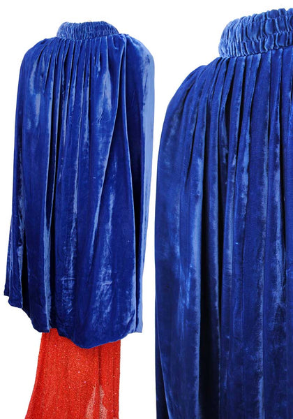 divinely decadent silk velvet evening cape in bright blue with ruched detail