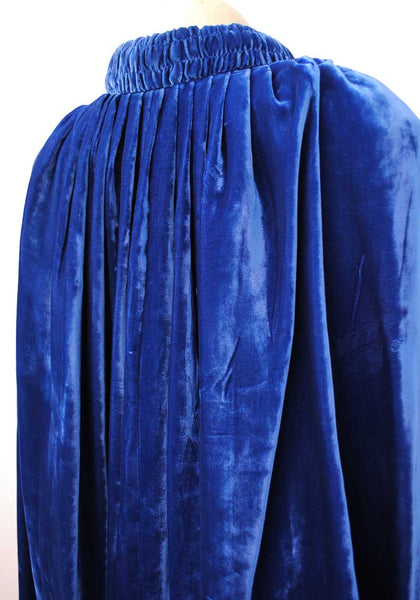 vintage deco blue silk velvet cape