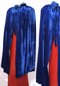 cobalt blue velvet 1930s opera cape with arm slits