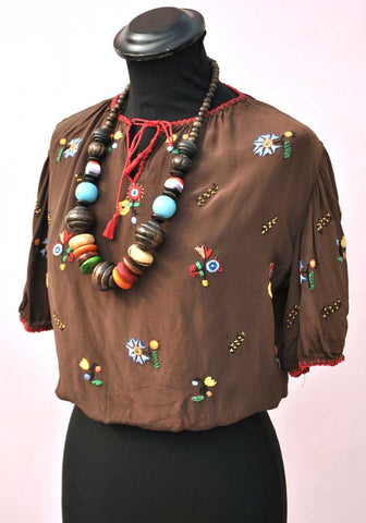 vintage 1930s brown silk embroidered hungarian peasant top