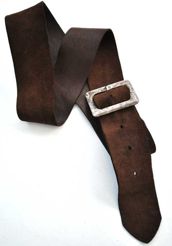 Vintage 30s brown kid suede belt with galalith buckle
