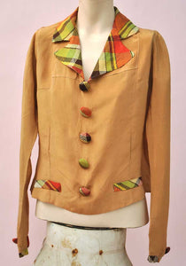original vintage 1930s silk blouse in caramel and plaid