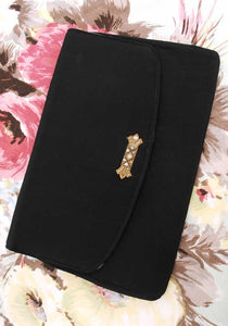 vintage 30s black clutch cocktail purse with rhinestone decoration