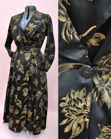 stunning red carpet, vintage 1930s black and gold evening dress coat, robe.