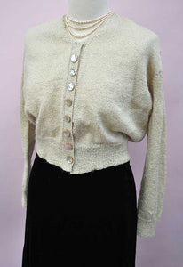 Vintage 1930s/40s Hand Knitted Gold Cardigan Mother of Pearl Buttons