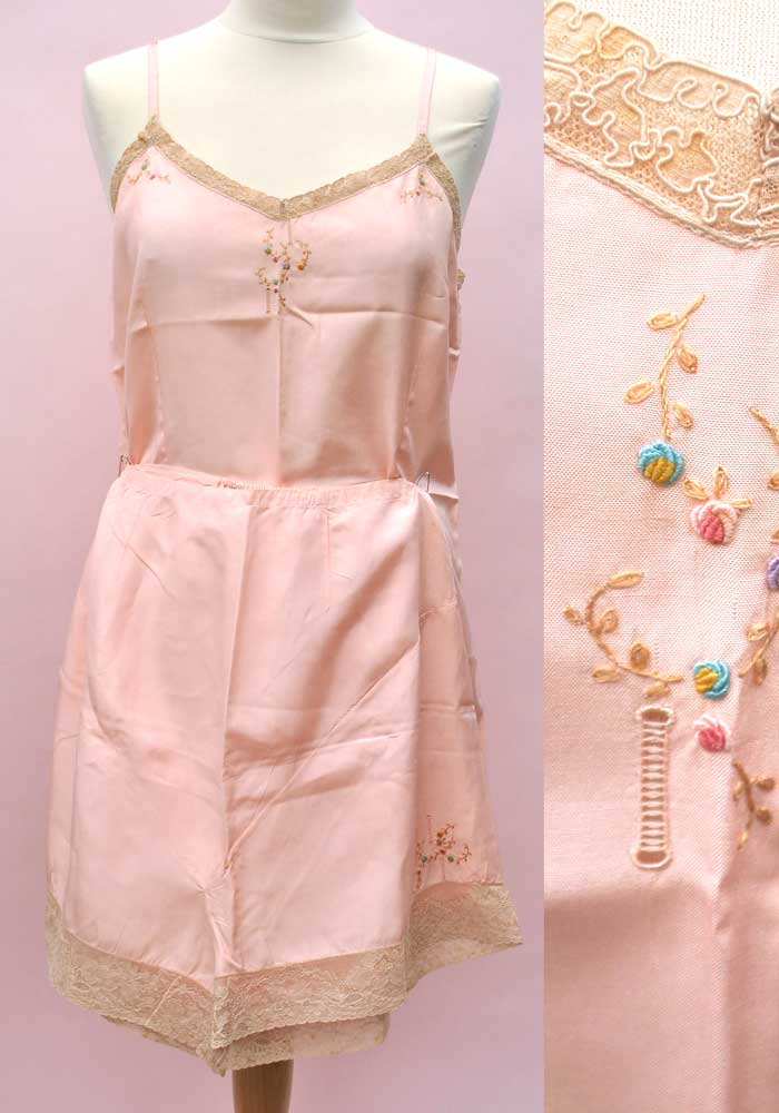 vintage 1920s pink silk tap set, camisole and tap pants