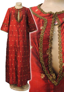 vintage red and gold raw silk shantung caftan, traditional moroccan kaftan