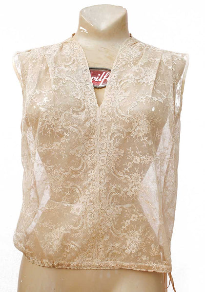 1930s Vintage Net Tea-Lace Camisole Top • Chantilly Lace