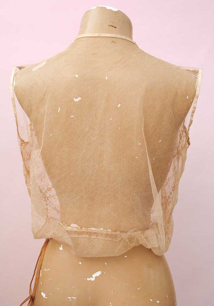 sheer net back, vintage deco lingerie camisole top