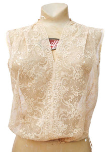 vintage 30s deco lace bodice camisole top, sheer chantilly lace in a light beige colour