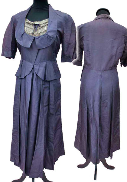 vintage 30s violet pelplum dress with metllic silver modesty panel