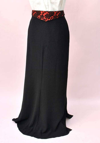 Vintage 30s Bias Cut Black Satin Backed Crepe Skirt