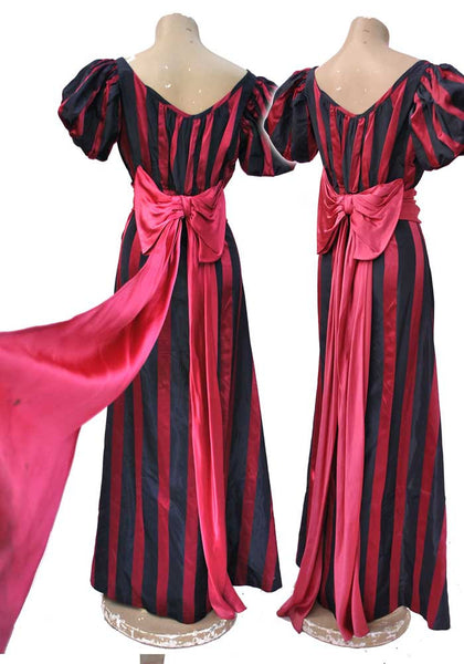 showstopper of a 1930s red carpet evening gown in hot pink and blue stripes