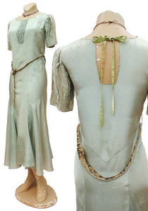 30s mint green bias cut gown with devore belt