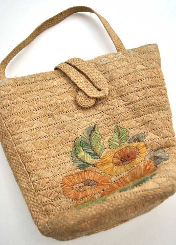 1930s straw raffia tote beach bag