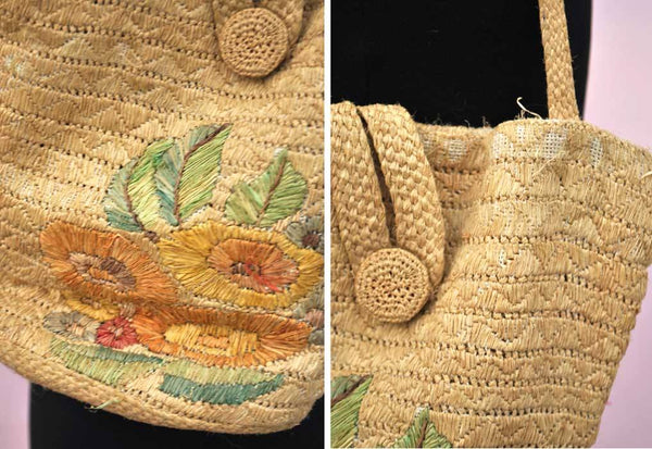 1930s-40s Vintage Raffia Embroidered Straw Bucket Bag