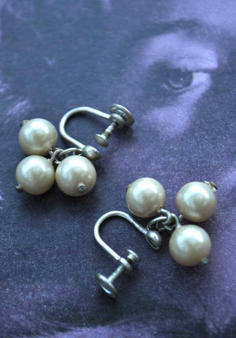 30s vintage screw on earrings, faux pearl cluster