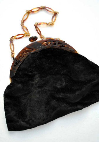 vintage deco black velvet purse with tortoiseshell plastic frame