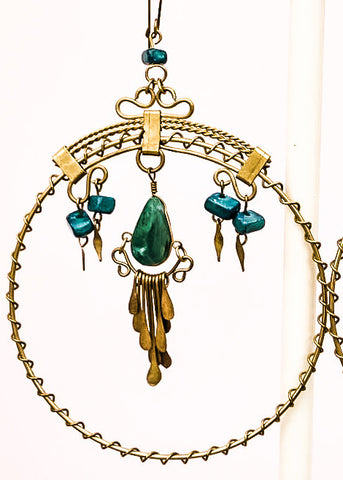 Vintage Turquoise & Brass Hoop Earrings • Gypsy • Boho • Zuni Earrings