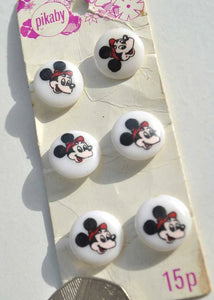 1960s Vintage Plastic Micky Mouse Buttons