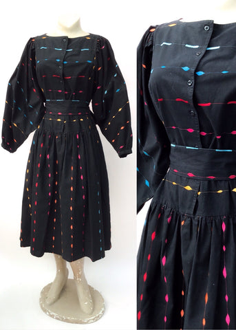 1980s Monsoon Black Embroidered Balloon Sleeve Dress with Pockets