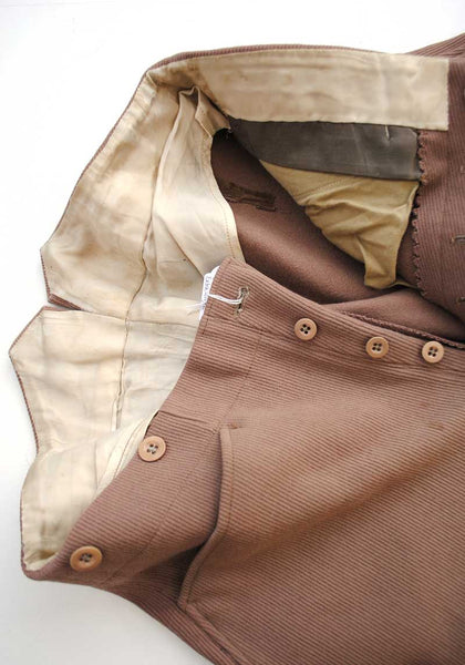 1930s Vintage Elephant Ear Riding Jodphurs • Brown Twill