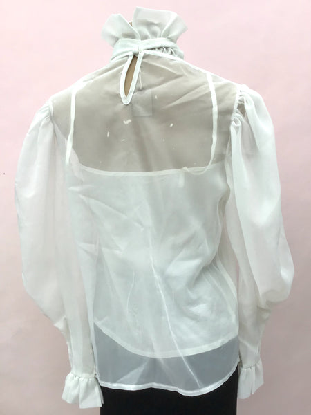 1980s Vintage Sheer White Ruffle Neck Blouse • Pussy Bow Puffed Sleeve