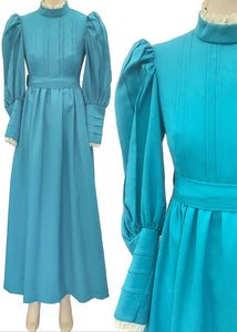Vintage turquoise laura ashley style prairie maxi dress or bridesmaid dress for an xs teen young girl