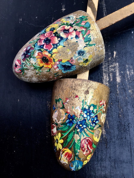 Pretty vintage floral decorated shoe trees