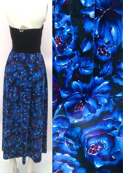 1970s Vintage Black & Blue Floral Velvet Strapless Cocktail Dress 💙 XS