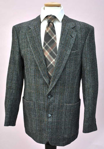 Vintage Grey Check Lightweight Tweed Sports Jacket • St Michael • 38""