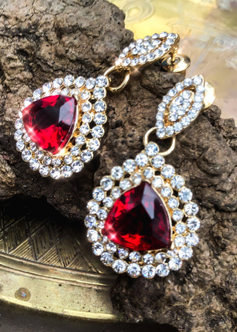 Gorgeous ruby red crystal dangle earrings
