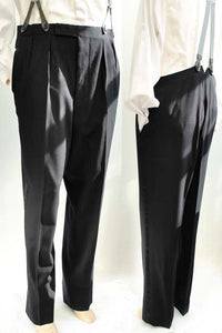 vintage midnight blue dress trousers with 38 inch waist, double pleated front, button braces.
