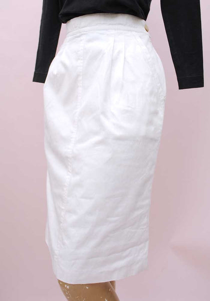1980s Vintage White Cotton Pencil Skirt with Pockets by Laurél