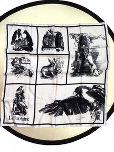 Richard allan la fontaine silk scarf, featuring aesops fables including the fox and the crow, the tortoise and the hare