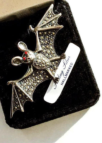 Buy sterling silver halloween marcasite bat brooch, perfect gothic gift for your vampire friend