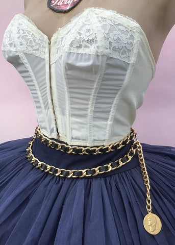 1990s Vintage Chanel Inspired Chain Belt  • with Black Leatherette