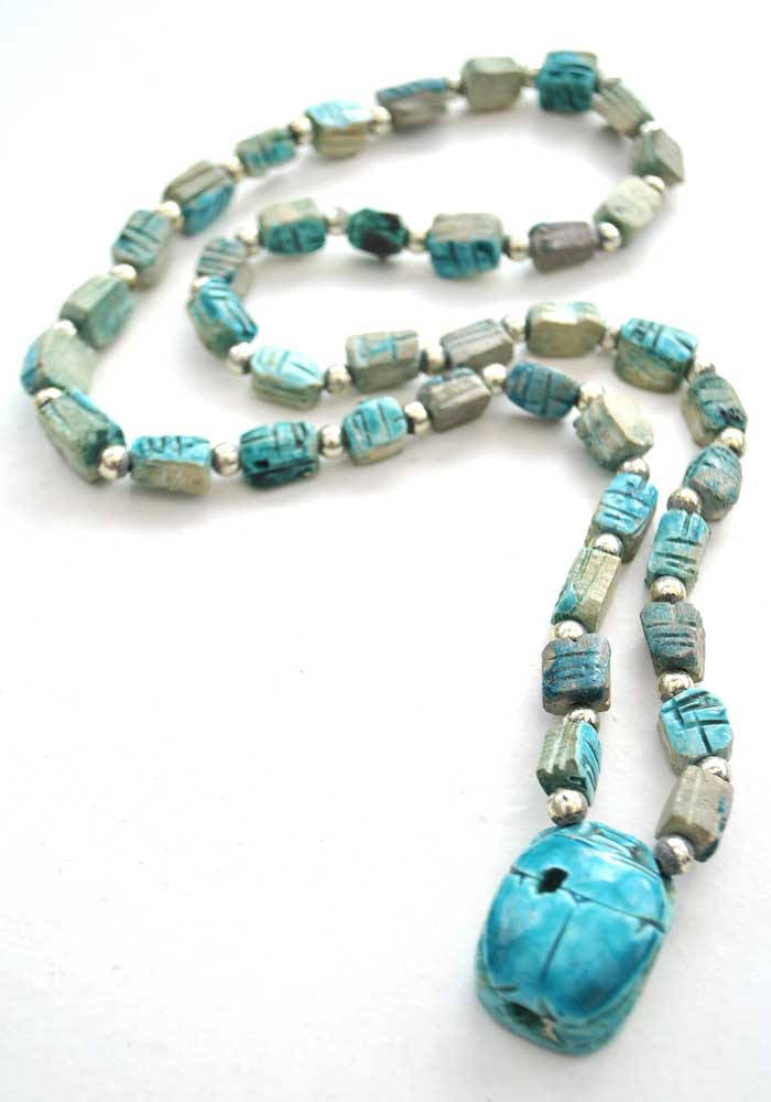 Turquoise egyptian revival scarab beetle necklace