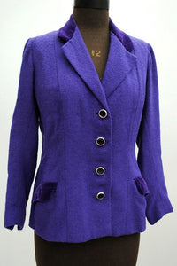 1960s Women's Vintage Purple Violet Boucle Blazer Jacket