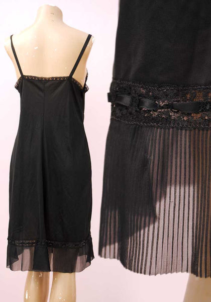 vintage black full slip with pleated frill
