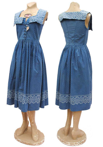 Vintage 40s Blue Polka Dot Summer Dress • WOUNDED