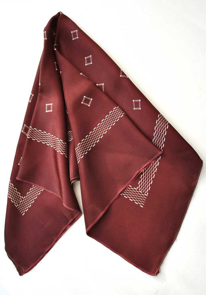genuine vintage 1950s wine red rayon scarf
