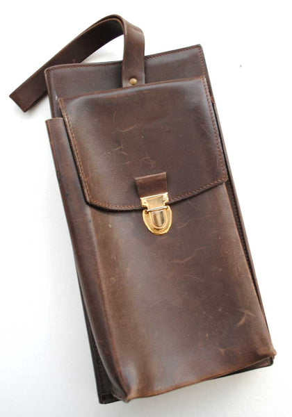 40s vintage leather document messenger bag, steampunk reenactment case