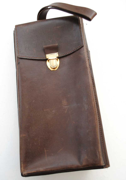 1960s Vintage Leather Map, Messenger Document Bag