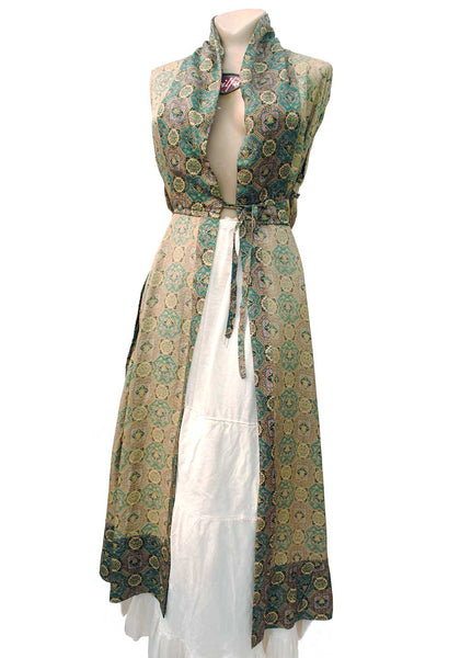 1940s Vintage Silky Teal Printed Robe Housecoat • Dressing Gown