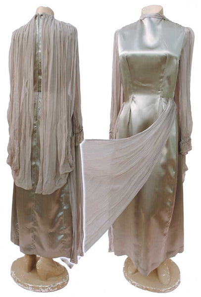 1930s Vintage Silver Evening Dress with Wings • Spirit of Ecstasy • Georgette Wings